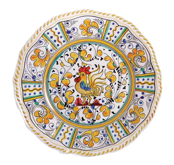 Le Cadeaux 107 Rooster Yellow Dinner Plate