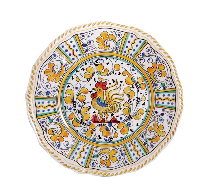 Le Cadeaux 109 Rooster Yellow Salad Plate