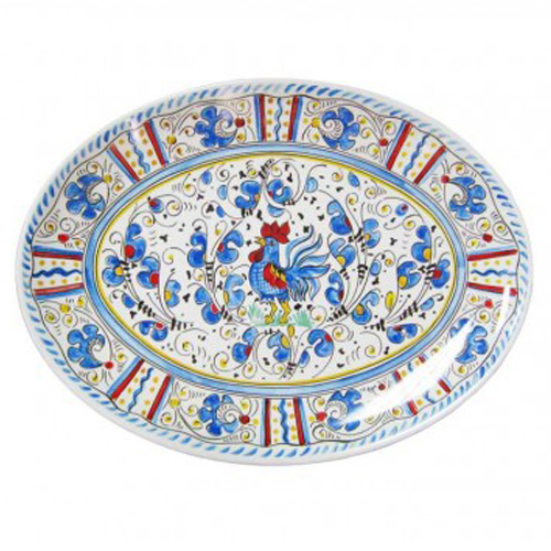Le Cadeaux 166 Rooster Blue Oval Tray