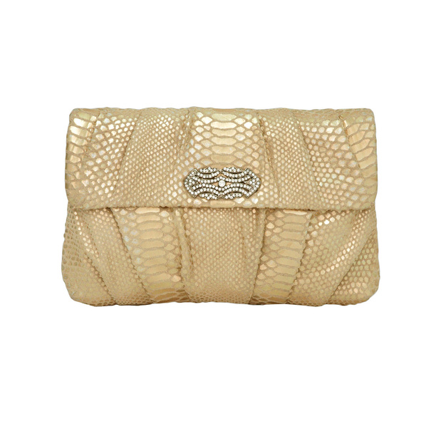 Inge Christopher Zelma Flap Clutch in Gold