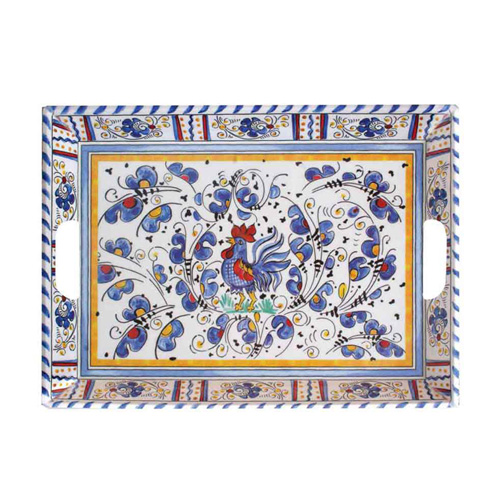 Le Cadeaux 801 Rooster Blue Large Serving Tray