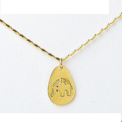Dogeared Free Spirit Gold Dipped Elephant Necklace