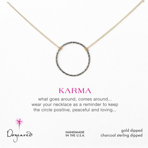 Dogeared Medium Karma Necklace in Charcoal with Gold Chain