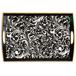 Black Florentine Decoupage Wooden Tray(WT182)
