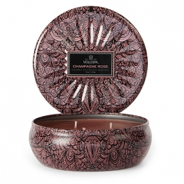 Volupsa Champagne Rose 3 Wick Candle Tin