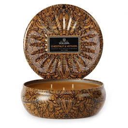 Volupsa Chestnut & Vetiver 3 Wick Candle Tin