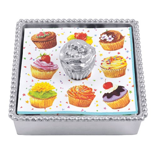 Mariposa Cupcake Beaded Napkin Box