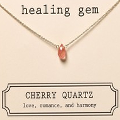 Dogeared Healing Gem Cherry Quartz Necklace