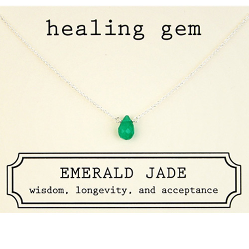 Dogeared Healing Gem Emerald Jade Necklace in Sterling Silver