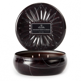 Volupsa Makassar Ebony & Peach 3 wick candle tin