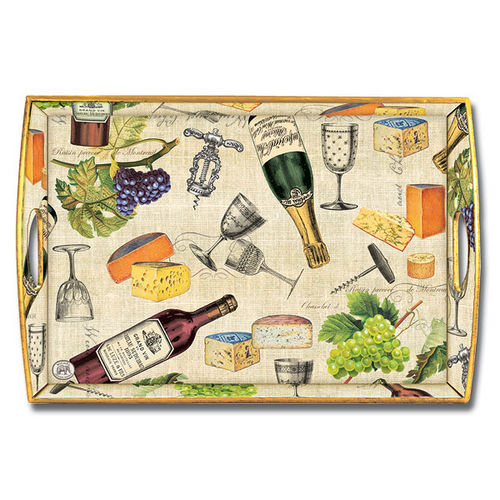 Wine & Cheese Decoupage Wooden Tray(WT114)